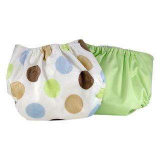Pam Grace Creations Green Polka-dot Cloth Diaper Covers (Set of 2)