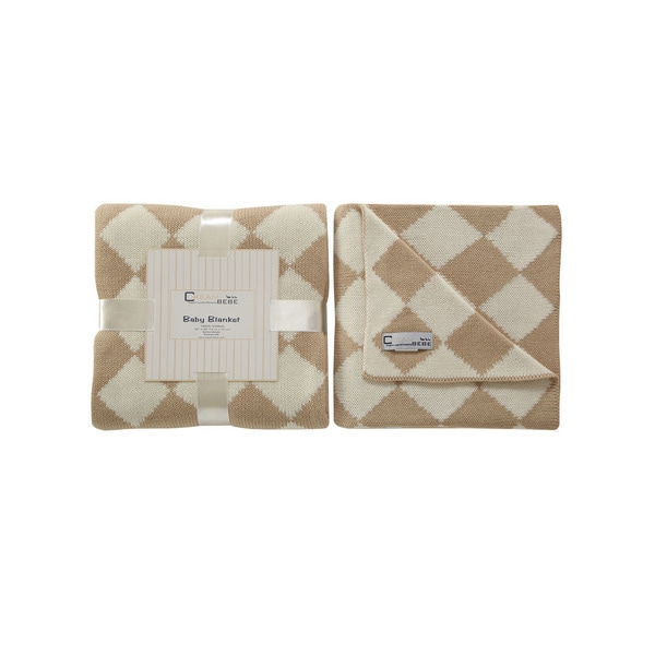 Cream Bebe Argyle 100% Cotton Knit Blanket Camel/Ivory