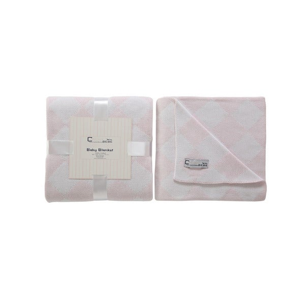 Cream Bebe Argyle 100% Cotton Knit Blanket Pink/White