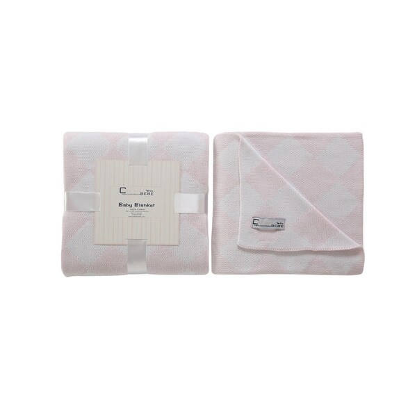 Cream Bebe Argyle 100% Cotton Knit Blanket Pink/White