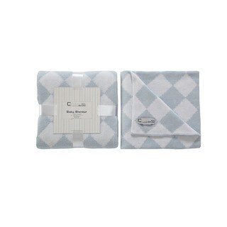 Cream Bebe Argyle 100% Cotton Knit Blanket Blue/White