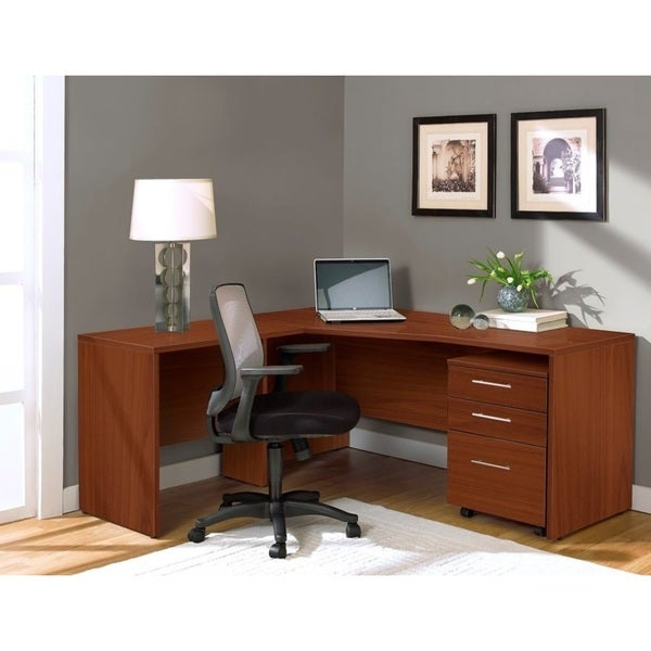 Jesper Office Corner L-Shaped Desk in Cherry