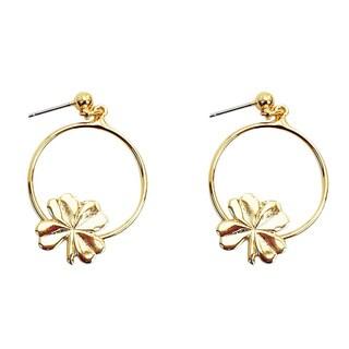 Goldtone 4-leaf Clover Hoop Earrings
