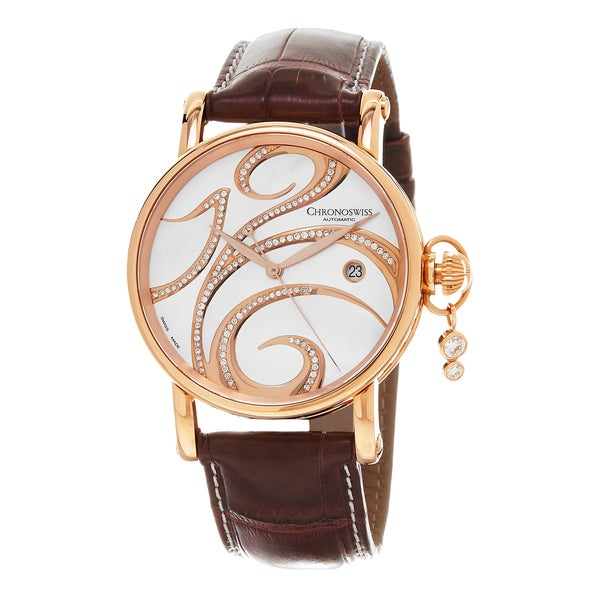 Chronoswiss Women's CH-2821-LLR-SW 'Swing' Mother of Pearl Diamond Dial Wine Leather Strap Swiss Automatic Watch