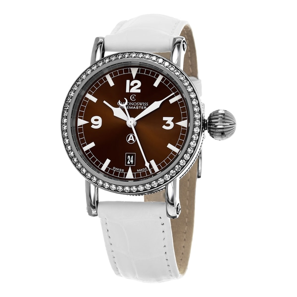 Chronoswiss Women's CH-2833D-BR 'TimeMaster' Brown Dial White Leather Strap Diamond Swiss Mechanical Watch