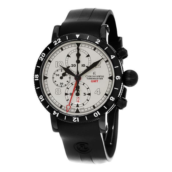 Chronoswiss Men's CH-7535-GST-SI2 'TimeMaster' Silver Dial Black Rubber Strap Chronograph Swiss Automatic Watch