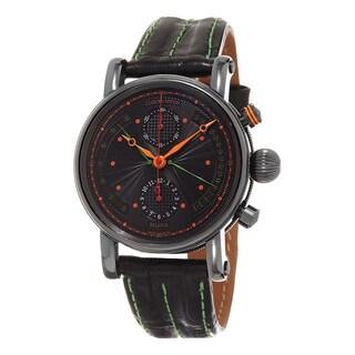 Chronoswiss Men's CH-7545-B-BK1 'Retrograde' Black Dial Black Leather Strap Chronograph Swiss Automatic Watch