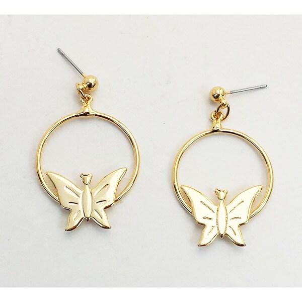Goldtone Hoop Butterfly Earrings