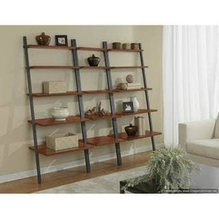 Triple Leaning Ladder Bookcase in Cherry
