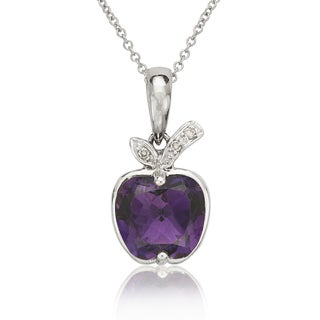 14k Gold Amethyst Diamond Accent 16-inch Apple Necklace