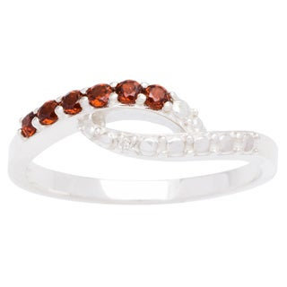 Sterling Silver Bypass 6-stone Birthstone Ring