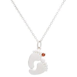 Sterling Silver Round Birthstone Footprint Necklace