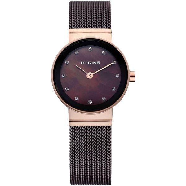 Bering Women's Swarovski Crystals Brown Mesh Rose Gold Tone Watch 10122-265