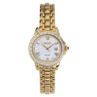 Seiko SUT172 Women's Solar Diamond Cabachon Gold-tone Bracelet Watch