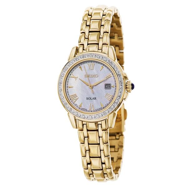 Seiko SUT172 Women's Solar Diamond Cabachon Gold-tone Bracelet Watch