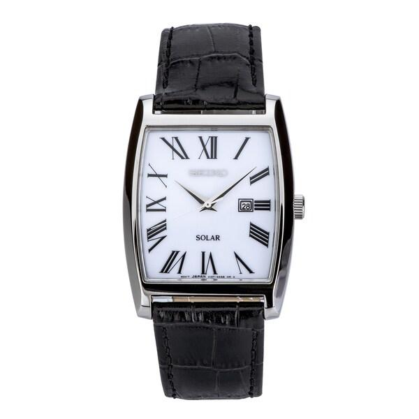 Seiko SUT891 Men's Solar Roman Numeral Black Leather Dress Watch