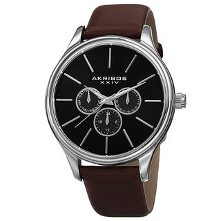 Akribos XXIV Men's Japanese Quartz Multifunction Leather Strap Watch