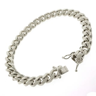 Rhodium Plated Sterling Silver 8.5 mm Solid Miami 9-inch Cuban Link Bracelet