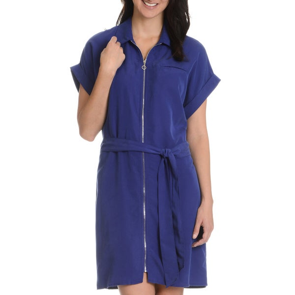 Sharagano Women's Zip Front Shirt Dress