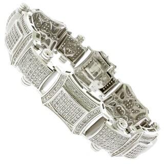 Rhodium-plated Sterling Silver Men's Cubic Zirconia 8-inch Bracelet