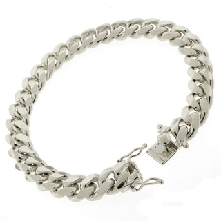 Rhodium-plated Sterling Silver 10.5mm Solid Miami Cuban Link Bracelet 9 inches