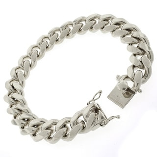 Rhodium-plated Sterling Silver 13.5mm Solid Miami Cuban Link Bracelet 9 inches