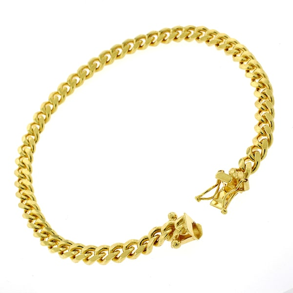 Gold-plated Sterling Silver 5mm Solid Miami Cuban Link Bracelet 8 inches