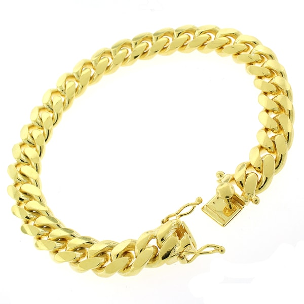Gold-plated Sterling Silver 10mm Solid Miami Cuban Link Bracelet 8.5 inches