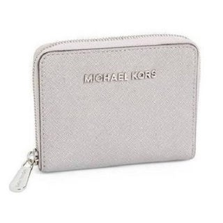 Michael Michael Kors Saffiano Leather Pearl Grey Zip Wallet