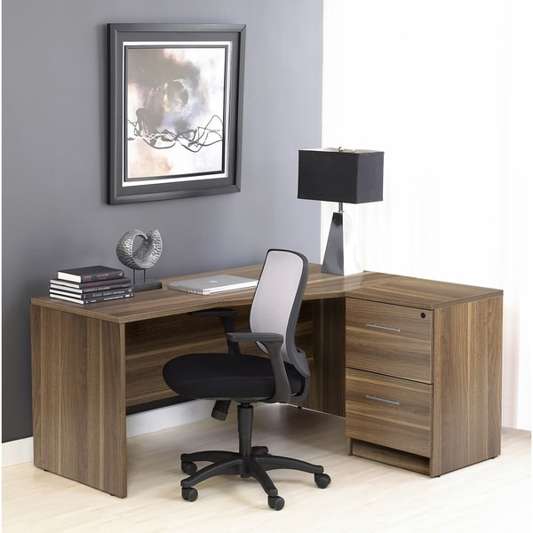 Corner L Shaped Desk with Filing Cabinet in Walnut