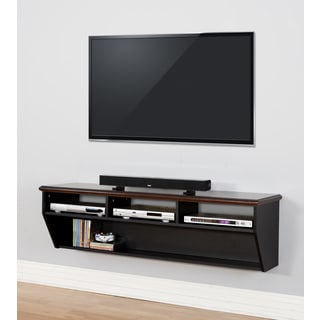 Deluxe Two-tone Wood Veneer Cherry Top 60-inch Wall Mount Hand-finished TV Console