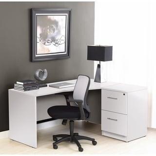 White Corner L Shaped Desk with Filing Cabinet