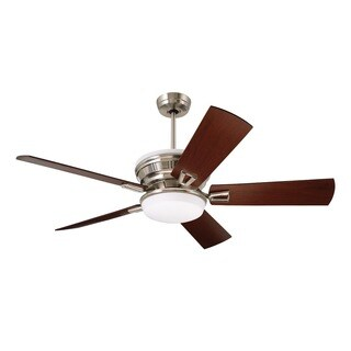Emerson Portland Eco 54-inch Brushed Steel Transitional Ceiling Fan with Reversible Blades