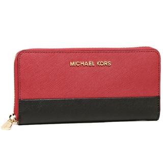 Michael Michael Kors Jet Set Zip Around Continental Red/ Black Colorblock Travel Wallet