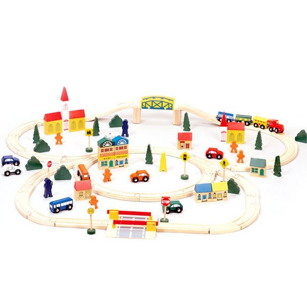 Conductor carl 100 piece wooden train set 17602128 for 100 piece cityscape train set and wooden activity table