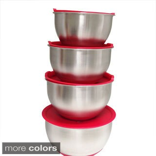 Stainless Steel Non-Slip Mixing Bowls with Lids 8-piece Set