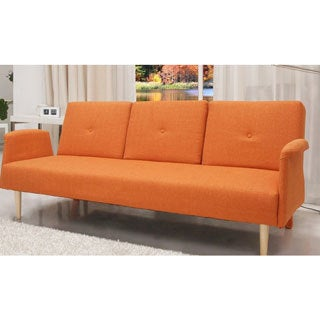 Contemporary Home Design Fabric Mid-century Sofa Bed with Cup Holder