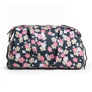 CalPak 'Madison' Blue Flower 21-inch Carry On Rolling Duffel Bag