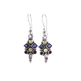 Sterling Silver Multi-gemstone Cluster Designer Earrings