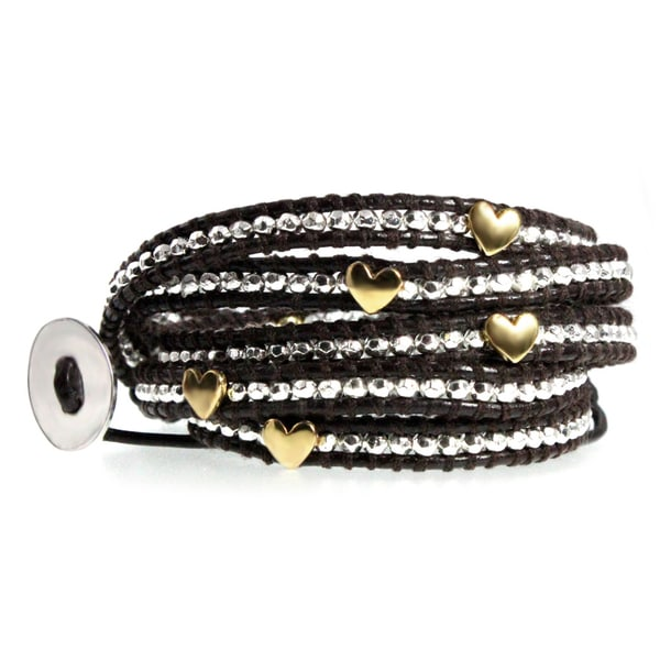 Golden Hearts Dark Brown Leather 5x Wrap Bracelet with Silvertone Faceted Nugget Beads