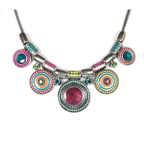 Colorful Art Circle Design Statement Necklace on 17.5-inch Chain with 3-inch Extender