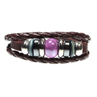 Purple Bead Multi-strand Leather Zen Bracelet with Fully Adjustable Drawstring