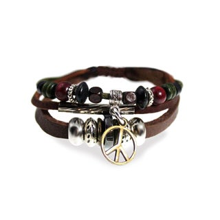 Peace Sign Multi-strand Leather Zen Bracelet with Fully Adjustable Drawstring