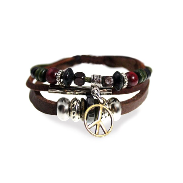 Peace sign multi strand leather zen bracelet with fully for Zen culture jewelry reviews