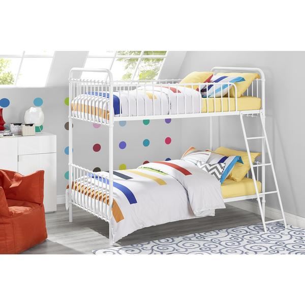 DHP White Brickmill Iron Twin over Twin Bunk Bed