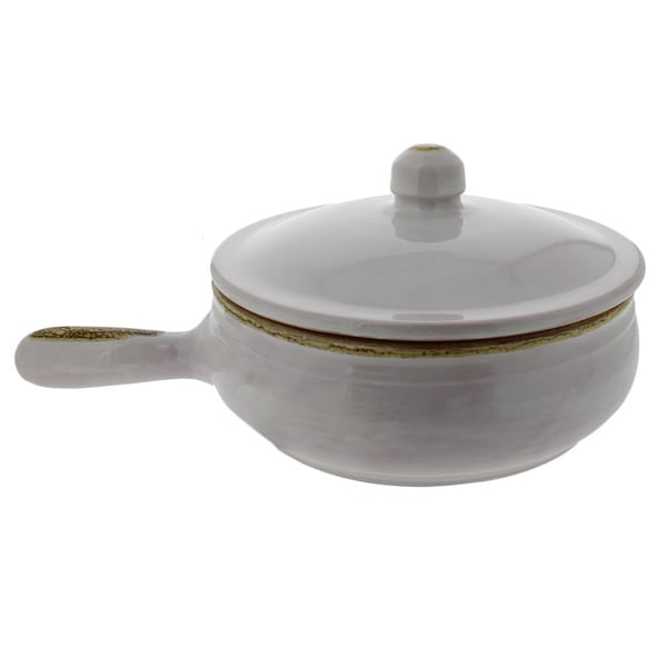French Home 1.25-quart White Stoneware Long Handled Pan With Lid