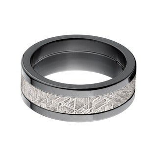 Black Zirconium Men's Meteorite Inlay Ring