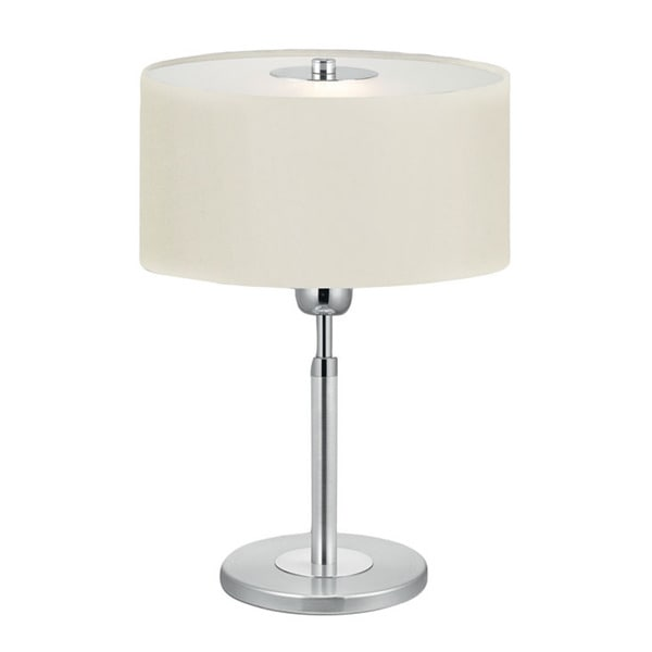 Eglo Halva 1 x 60-watt Table Lamp with Brushed Aluminum and White Fabric Shade