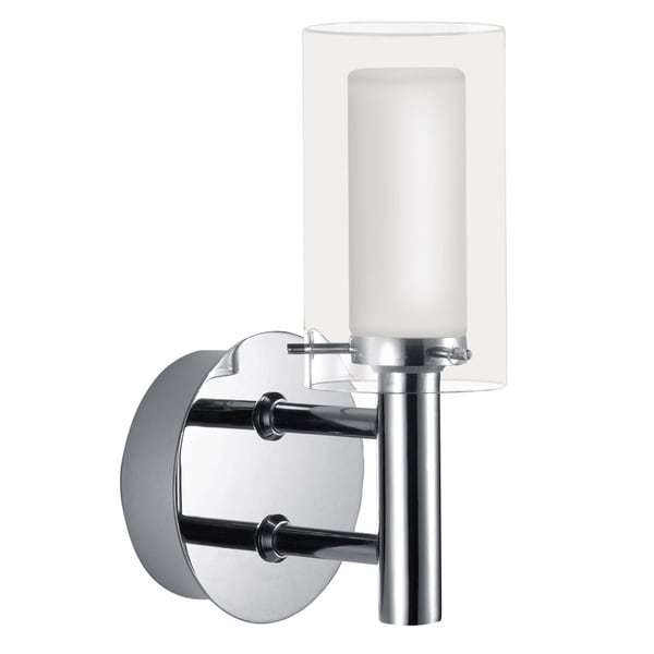 Eglo Palermo 1 x 40W Vanity Light with Chrome Finish and Frosted and Clear Glass