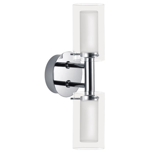 Eglo Palermo 2 x 40W Vanity Light with Chrome Finish and Frosted and Clear Glass